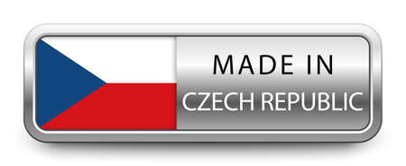 MADE IN CZECH REPUBLIC metallic badge  national flag isolated on a white background.  vector file