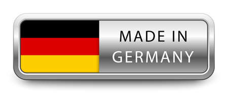 MADE IN GERMANY metallic badge  national flag isolated on a white background.  vector file