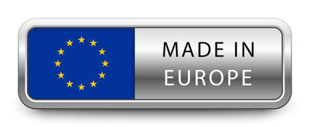 MADE IN EUROPE metallic badge  national flag isolated on a white background.  vector file Stock fotó - 151646776