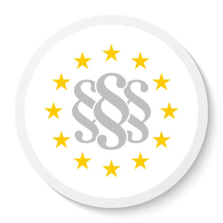 Circle sticker icon with the wreath of the EU and three gray paragraph marks, law symbols isolated on a white background. EPS10 vector file