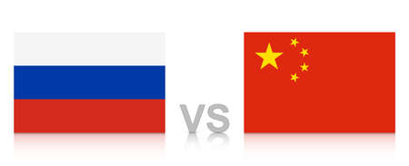 Russia versus China. The Russian Federation against the People's Republic of China. National flags with reflection. EPS10 vector file