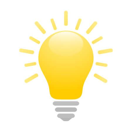 Shiny yellow light bulb icon with rays. Idea and creativity symbol. EPS10 vector file
