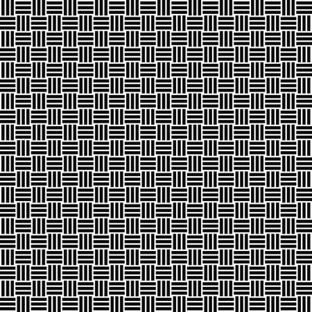 Vector seamless weave pattern. Rattan texture. Black-and-white background. Monochrome design. EPS10 vector file