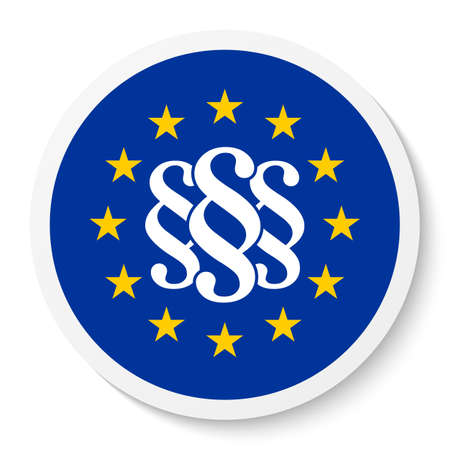Circle sticker icon with the EU flag and three paragraph marks, law symbols isolated on a white background. EPS10 vector file Vektorové ilustrace