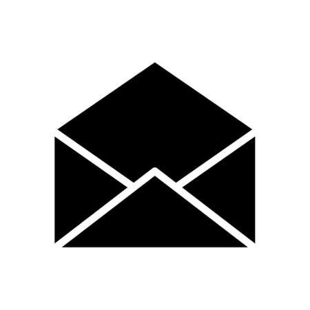 Opened envelope pictogram, icon isolated on a white background.