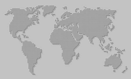Abstract world map consisting of dots / circles with a long shadow on a gray background. EPS10 vector file