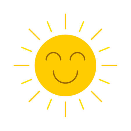 Abstract yellow smiling sun icon isolated on a white background. EPS10 vector file
