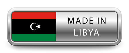 MADE IN LIBYA metallic badge with national flag isolated on a white background. Vettoriali