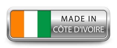 MADE IN COTE D'IVOIRE metallic badge with national flag isolated on a white background.