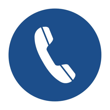 Blue round telephone receiver icon, button isolated on a white background.
