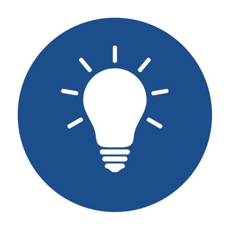 Blue round glowing light bulb icon, button isolated on a white background.