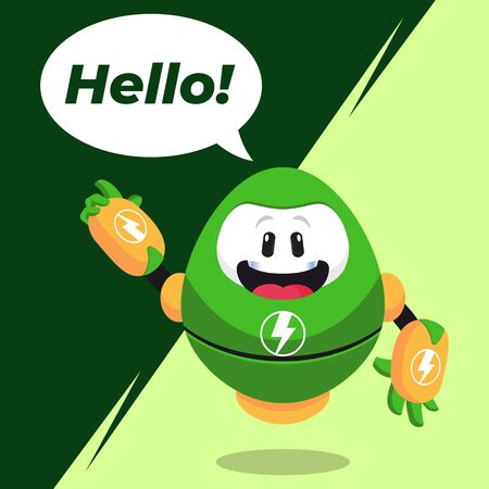 Electric Robot Mascot Say Hello Expression Stock Illustration Vector