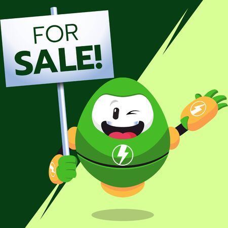 Electric Robot Mascot Holding A Sale Sign Stock Illustration Vector
