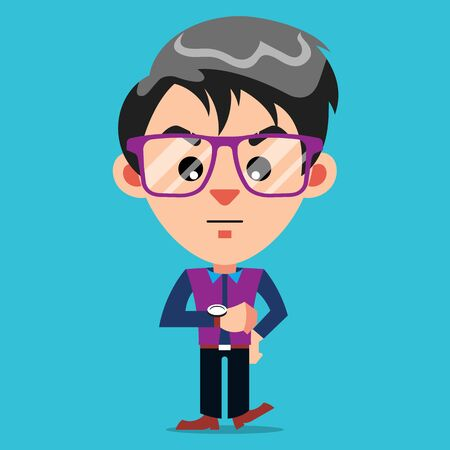 Impatient Guy Cartoon Character With Glasses looking at Watch Vettoriali