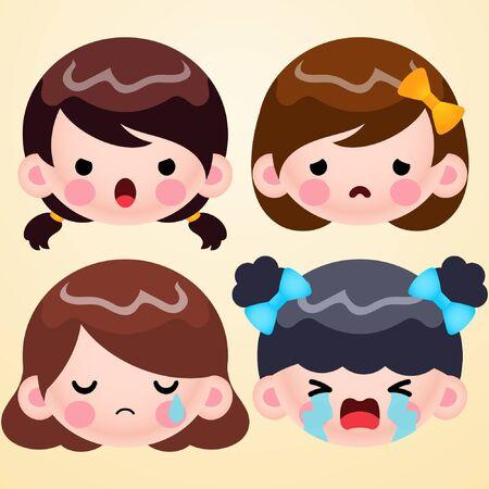 Cartoon Cute Little Girl Head Avatar Face Negative Emotions Set Stock Vector
