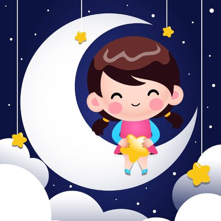 Cartoon Cute Little Girl Sitting On The Moon And Holding Stars In Her Lap