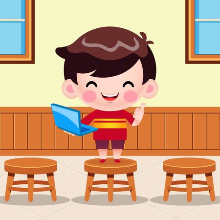 Illustration vector graphic of Cartoon Cute Little Boy Holding Laptop Presentation In Classroom. Perfect for mascot, children book cover, children book illustrations, wallpaper, kid's brochure, puzzle, game illustration, game assets, animation, etc. Vettoriali