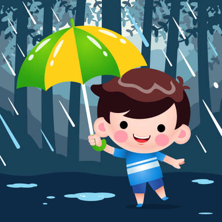 Illustration vector graphic of Cartoon Cute Little Boy Hiding Under Umbrella During The Rain Weather Perfect for mascot, children book cover, children book illustrations, wallpaper, kid's brochure, puzzle, game illustration, game assets, animation, etc. Illustration