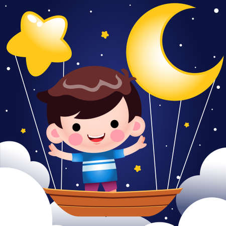 Illustration vector graphic of Cartoon Cute Little Boy Riding On Flying Boat At Night Vector Illustration. Perfect for mascot, children book cover, children book illustrations, wallpaper, kid's brochure, puzzle, game illustration, game assets, animation, etc.