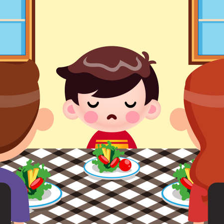 Illustration vector graphic of Cartoon Cute Little Boy Not Want To Eat Vegetables, And Her Parents Tries To Persuade Her. Perfect for mascot, children book cover, children book illustrations, wallpaper, kid's brochure, puzzle, game illustration, game assets, animation, etc.