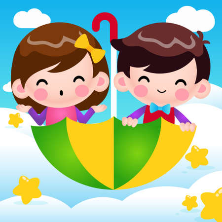 Illustration vector graphic of Cartoon Boy And Girl Riding Flying Umbrella, Vector Illustration. Perfect for mascot, children book cover, children book illustrations, wallpaper, kid's brochure, puzzle, game illustration, game assets, animation, etc.