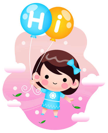 Illustration vector graphic of Cartoon Little Girl Flying With Balloons. Perfect for children book cover, children book illustrations, wallpaper, kid's brochure,  game illustration, animation, etc.