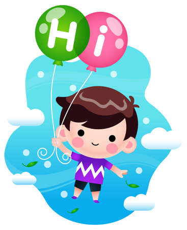 Illustration vector graphic of Cartoon Little Boy Flying With Balloons. Perfect for children book cover, children book illustrations, wallpaper, kid's brochure,  game illustration, animation, etc.