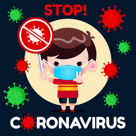 Illustration vector graphic of little boy with medical mask holding No Coronavirus Covid-19 sign.Perfect for Medical brochure, Television health information, Medical Banner, Hospital, etc