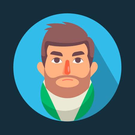 Illustration vector graphic of cartoon Men Avatar Thinking, Flat Design. Perfect for business website, brochure, social media illustration, mascot, etc.