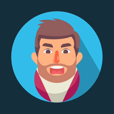 Illustration vector graphic of cartoon Men Avatar With Angry Face Emotions, Flat Design. Perfect for business website, brochure, social media illustration, mascot, etc. Ilustração