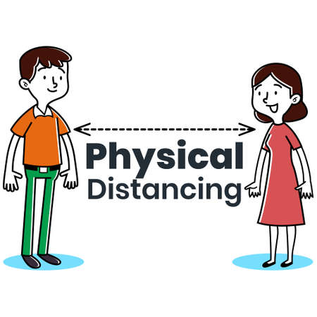 Illustration vector graphic Men and Woman Physical Distancing illustration fight COVID-19. Perfect for newspaper graphic illustration, Medical brochure, Television health information, etc