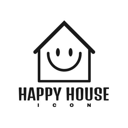 Vector graphic of warming smiley house icon logo. Perfect for logo, icon, website, brochure, property, stay at home, etc