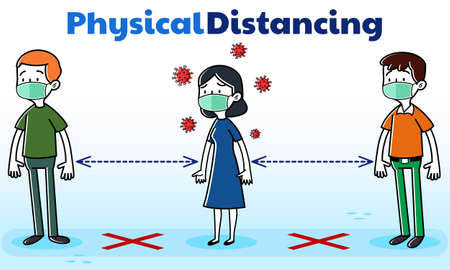 Illustration vector graphic People queue physical distancing illustration, asymptomatic woman without COVID-19 Coronavirus symptoms among People. Perfect for newspaper graphic illustration, Medical brochure, Television health information, etc Banco de Imagens - 150954627