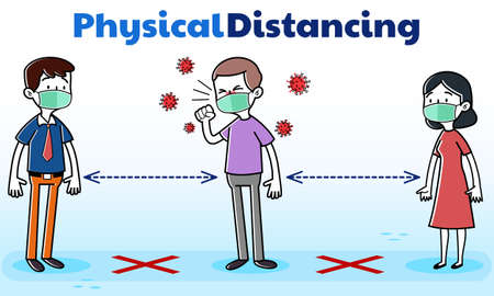 Illustration vector graphic Physical Distancing, Cartoon Man With COVID-19 Coronavirus Symptoms coughing around people. Perfect for newspaper graphic illustration, Medical brochure, Television health information, etc Banco de Imagens - 150954632