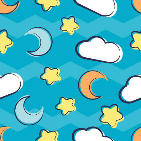 Illustration vector graphic of Cartoon Moon Cloud And Stars Seamless Pattern.Perfect for Blanket, Background, Baby Play Mat, Baby T-Shirts, Wallpaper, Backdrop, etc