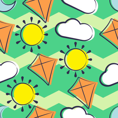 Illustration vector graphic of Cartoon Kite Sun Moon Cloud Seamless Pattern. Perfect for Blanket, Background, Baby Play Mats, Baby T-Shirts, Wallpaper, Backdrop, etc