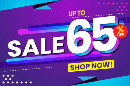 Vector graphic of Abstract Colorful Sale 65 Percent Background.Perfect for Retail, Brochure, Banner, Business, Selling, etc