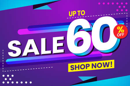 Vector graphic of Abstract Colorful Sale 60 Percent Background.Perfect for Retail, Brochure, Banner, Business, Selling, etc
