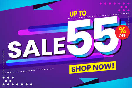 Vector graphic of Abstract Colorful Sale 55 Percent Background.Perfect for Retail, Brochure, Banner, Business, Selling, etc Ilustração