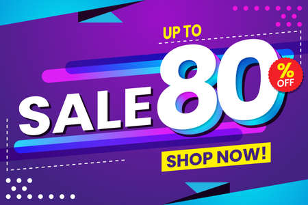 Vector graphic of Abstract Colorful Sale 80 Percent Background.Perfect for Retail, Brochure, Banner, Business, Selling, etc