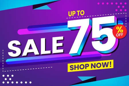 Vector graphic of Abstract Colorful Sale 75 Percent Background.Perfect for Retail, Brochure, Banner, Business, Selling, etc