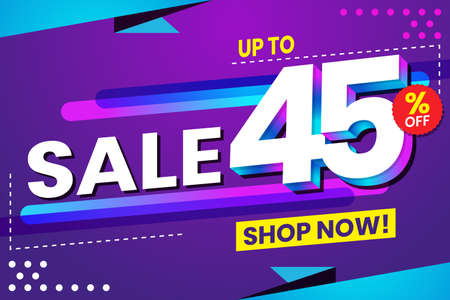 Vector graphic of Abstract Colorful Sale 45 Percent Background. Perfect for Retail, Brochure, Banner, Business, Selling, etc