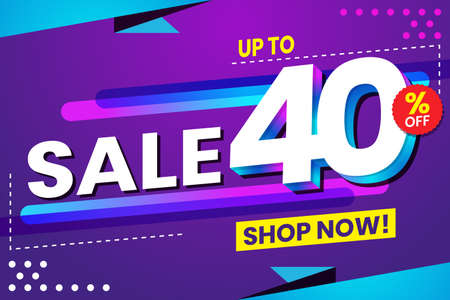 Vector graphic of Abstract Colorful Sale 40 Percent Background.Perfect for Retail, Brochure, Banner, Business, Selling, etc