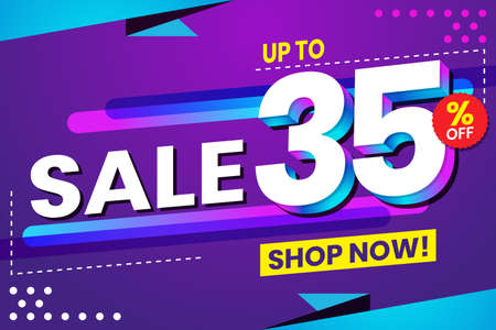 Vector graphic of Abstract Colorful Sale 35 Percent Background.Perfect for Retail, Brochure, Banner, Business, Selling, etc