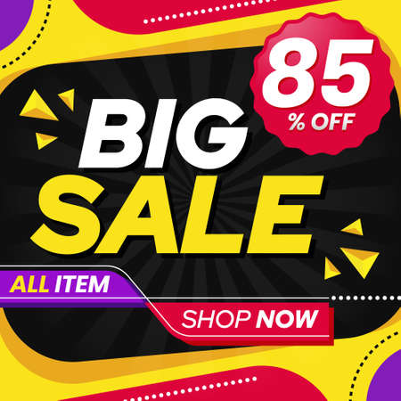 Vector graphic of Abstract Colorful Big Sale 85 Percent Banner Background. Perfect for Retail, Brochure, Banner, Business, Selling, etc