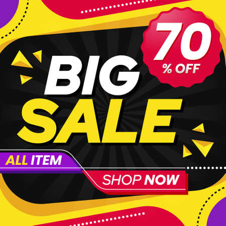 Vector graphic of Abstract Colorful Big Sale 70 Percent Banner Background. Perfect for Retail, Brochure, Banner, Business, Selling, etc