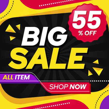 Vector graphic of Abstract Colorful Big Sale 55 Percent Banner Background. Perfect for Retail, Brochure, Banner, Business, Selling, etc