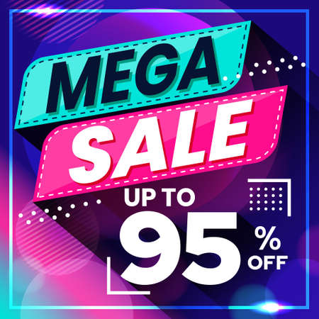 Vector graphic of Abstract Colorful Mega Sale 95 Percent Banner Background. Perfect for Retail, Brochure, Banner, Business, Selling, etc Ilustração