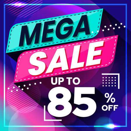 Vector graphic of Abstract Colorful Mega Sale 85 Percent Banner Background. Perfect for Retail, Brochure, Banner, Business, Selling, etc