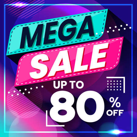 Vector graphic of Abstract Colorful Mega Sale 80 Percent Banner Background. Perfect for Retail, Brochure, Banner, Business, Selling, etc